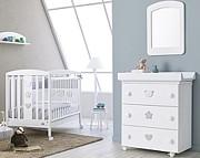 Pali Birillo Pokój dziecięcy (łóżeczko 124x64 cm + komoda kąpielowa) Bianco