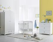 Pali Birillo Pokój dziecięcy (łóżeczko 124x64 cm + komoda z szufladami + szafa 2-drzwiowa) Bianco / Kurier Gratis