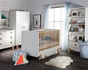 Pinio Iga (łóżeczko 140x70 z szufladą + komoda + przewijak + szafa 2 drzwiowa) / KURIER GRATIS! 15% taniej do 30 kwietnia.