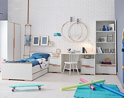 Pinio Snap (łóżko 200x90cm + biurko z kontenerkiem + szafa 2 drzwiowa) biały KURIER GRATIS! 15% taniej do 30 kwietnia.