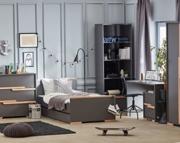 Pinio Snap (łóżko 200/90cm+biurko z kontenerkiem+szafa 2 drzwiowa) szary.Transport gratis! 15% taniej do 30 kwietnia.