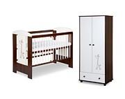 Klupś Safari Żyrafka/Little Giraffe pokój niemowlęcy (łóżeczko 120x60+szafa dwudrzwiowa) biel/orzech.