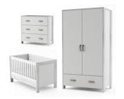 Timoore Manhattan pokój dziecięcy (łóżeczko-tapczanik 140x70 + komoda + szafa) kolor biały / KURIER GRATIS