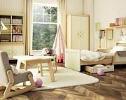 Timoore Simple pokój dziecięcy (łóżko rozsuwane + szafa 2 drzwiowa + komoda 3 szuflady) kremowo- bukowa / KURIER GRATIS