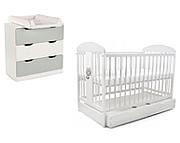 Tomi XIX pokój dziecięcy (łóżeczko 120x60 z szufladą kolor biały + komoda 3 szuflady szara) / KURIER GRATIS PRZY PRZEDPŁACIE