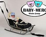 Baby Merc sanki Winter Frenzy z oparciem, regulowanym pchaczem i śpiworkiem