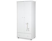Klupś Safari Żyrafka szafa 2-drzwiowa z szufladą / kolor biały.