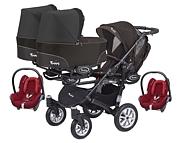 BabyActive Trippy wózek dla trojaczków 3w1 (stelaż + 3 x spacerówka + 3 x gondola + 3 x Maxi Cosi Cabrio) 2019 GRATIS KURIER