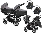 BabyActive Twinni Premium 3w1 (2x spacerówka + 2x gondola + 2x fotelik Maxi Cosi Cabriofix) 2019 KURIER GRATIS