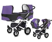 WYPRZEDAŻ BabyActive Twinni 2w1 (2x spacerówka + 2x gondola) 2019 kolor ultraviolet/stelaż biały WYSYŁKA 24H