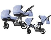 WYPRZEDAŻ Bebetto 42 For Two wózek bliźniaczy 2019 (stelaż czarny + 2 x spacerówka + 2 x gondola ) kolor 02 KURIER GRATIS