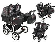 Dorjan Danny Sport 5 Twin 3w1 (2 spacerówki + 2 gondole + 2 foteliki Sport) 2020 KURIER GRATIS