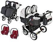 Dorjan Danny Sport 5 Twin 3w1( stelaż + 2 spacerówki + 2 gondole + 2 foteliki  Maxi Cosi Cabrio) KURIER GRATIS