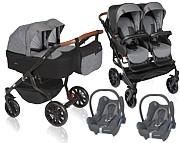Dorjan Quick Twin 3w1 (2x spacerówka + 2x gondola + 2x fotelik Maxi Cosi Cabrio) 2021 KURIER GRATIS