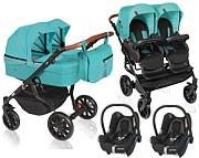 Dorjan Quick Twin Premium 3w1 (2x spacerówka + 2x gondola + 2x fotelik Maxi Cosi Cabrio) 2021 KURIER GRATIS