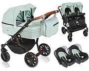 Dorjan Quick Twin Premium 3w1 (2x spacerówka + 2x gondola + 2x fotelik) 2021 KURIER GRATIS
