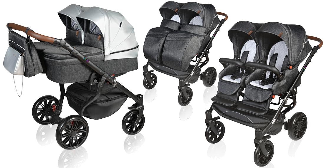 Dorjan Vivo Twin 2in1 (frame + 2x pushchair + 2x carrycot) 2021 [id31972] -  €781 : Dino, Dino