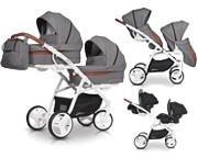 EasyGo 2 Of US wózek bliźniaczy 3w1 (2x spacerówka + 2x gondola + 2x fotelik Starter Plus + adaptery) 2019 KURIER GRATIS