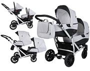 Kunert Booster wózek bliźniaczy 3w1 (2x spacerówka + 2x gondola + 2x fotelik Carlo z adapterem) KURIER GRATIS
