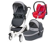 Wyprzedaż! 4Baby Cosmo 3w1 (spacerówka + gondola + fotelik Maxi Cosi Cabrio red orchid) kolor dark grey WYSYŁKA 24H /