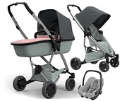 WYPRZEDAŻ!! Wózek Quinny Zapp Flex Plus (spacerówka Grey on Graphite + gond Lux Blush on Grey +fot Maxi Cosi Rock) KURIER GRATIS