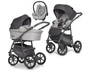 Ekonomiczny wózek 3w1 Riko Basic Plus Pastel 2020 (spacerówka + gondola + fotelik Maxi Cosi Cabrio) / KURIER GRATIS