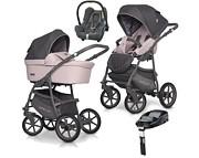 Ekonomiczny wózek Riko Basic Plus Pastel 4w1 (spacerówka + gondola + Maxi Cosi Cabrio + baza Familyfix) 2020 KURIER GRATIS
