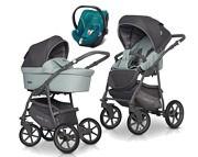 Ekonomiczny wózek Riko Basic Plus Pastel 3w1 (spacerówka + gondola + fotelik Cybex Aton 5) 2020 / KURIER GRATIS